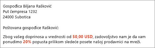 """U dokumentu rezultata objedinjavanja pošte piše """"vaš doprinos od 50,00 USD"""" i """"pruža vam popust od 20%""""."""
