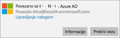 """Izaberite ili dodirnite stavku """"Informacije"""" u dijalogu """"Povezivanje sa uslugom Microsoft Azure AD""""."""