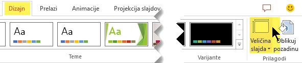 """Dugme """"Veličina slajda"""" je na krajnjoj desnoj strani kartice """"Dizajn"""" trake sa alatkama"""