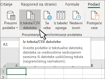"Izbor teksta/CSV na kartici ""Podaci"""