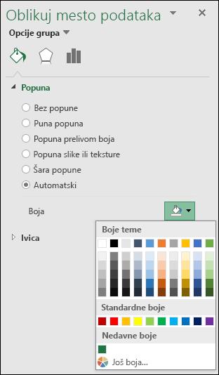 Opcije boje grafikona Excel mapiranje grafikonima kategorije