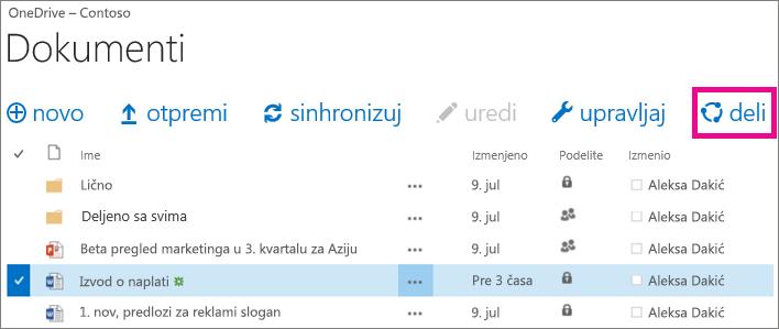 Deljenje datoteke iz OneDrive for Business biblioteke