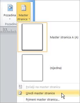 Izbor Uredi Master stranice u meniju Master stranice