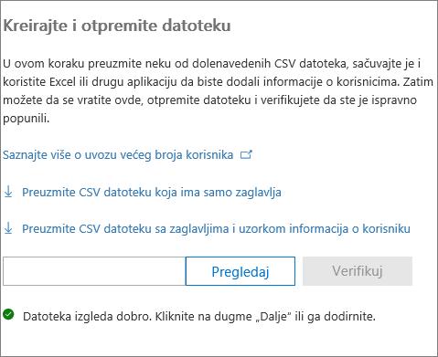 Vaša CSV datoteka je verifikovana