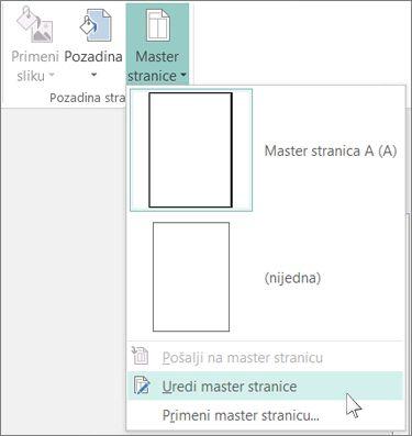 """Snimak ekrana padajućeg menija """"Uređivanje mastera stranica"""" u programu Publisher."""