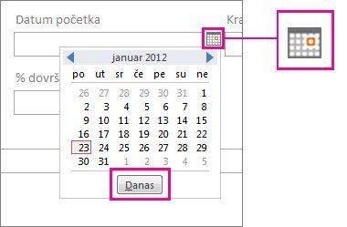 Birač datuma sa istaknutim dugmetom Danas.