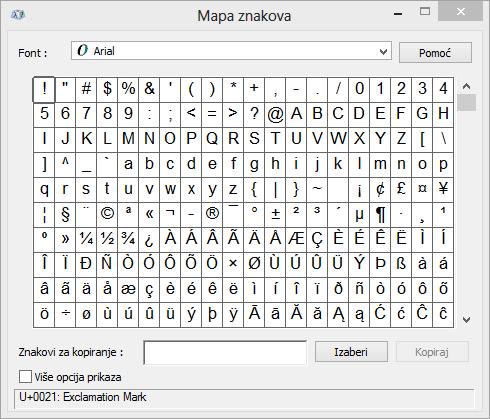 "Windows program ""Mapa znakova"""