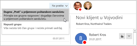 """Dugme """"Otkaži pretplatu"""" u zaglavlju grupe u programu Outlook 2016"""