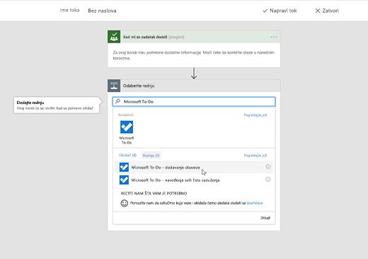 Snimak ekrana koji prikazuje izabranu aplikaciju Microsoft To-Do
