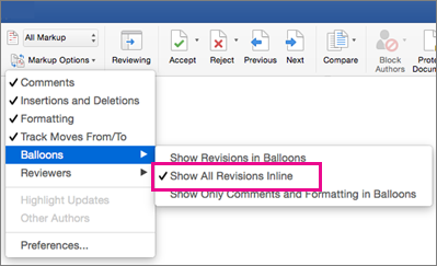 Show all Revisions inline is highlighted