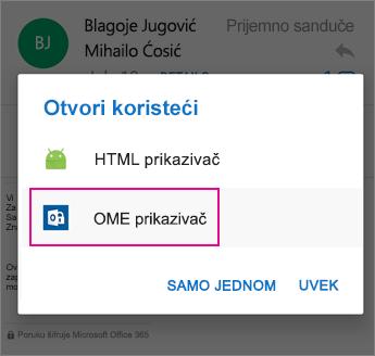 OME prikazivač sa programom Outlook za Android 2