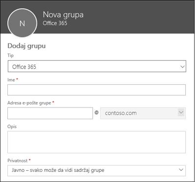 Kreiranje nove Office 365 grupe, nove liste distribucije ili nove bezbednosne grupe