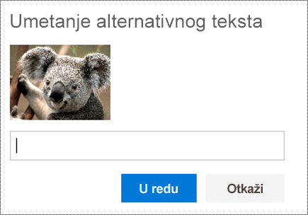 Dodajte alternativni tekst slikama u usluzi Outlook na vebu.