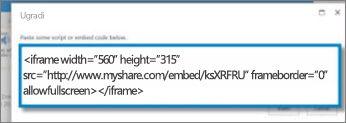 Snimak ekrana <iframe> kôda za ugradnju video zapisa koji je kopiran iz lokacije za deljenje video zapisa. Kôd za ugradnju je fiktivan.