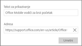 Snimak ekrana dijaloga za dodavanje veze hiperteksta u programu OneNote za Windows 10.