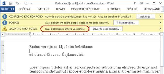 Identifikovanje teksta u stavki koju treba redigovati