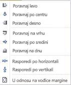 Opcije poravnavanja objekta u programu Publisher 2010