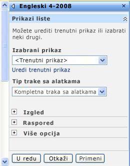 Okno sa alatkama Veb segmenta u kojem možete da konfigurišete svojstva Veb segmenta.
