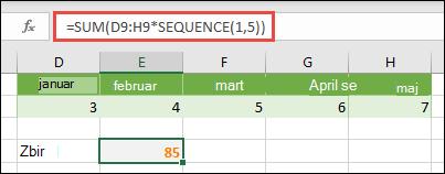 Korišćenje konstanti niza u formulama. U ovom primeru koristili smo = SUM (D9:H(*SEQUENCE(1,5))