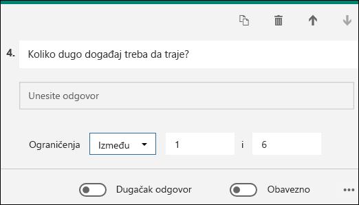 Tekstualno pitanje prikazano sa ograničenjem broja od 1 do 6