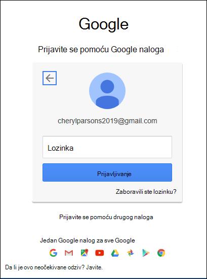 Unesite gmail lozinku.