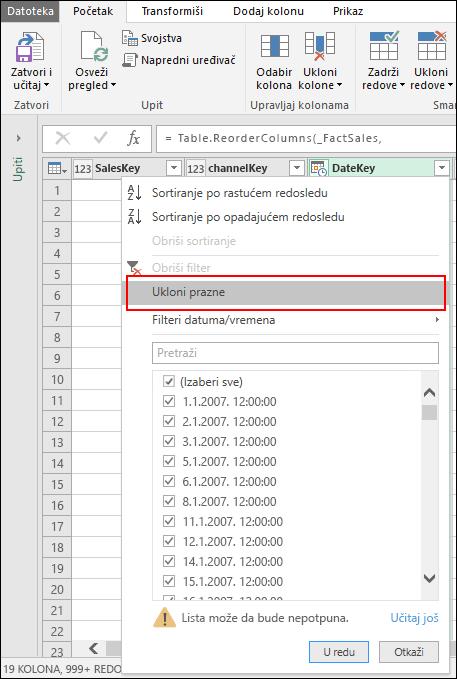 "Power Query – uklanjanje praznina pomoću menija ""Filter za kolone"""