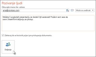 Deljenje prezentacije u sistemu SharePoint