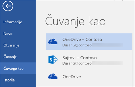 Čuvanje Word dokumenta u usluzi OneDrive for Business