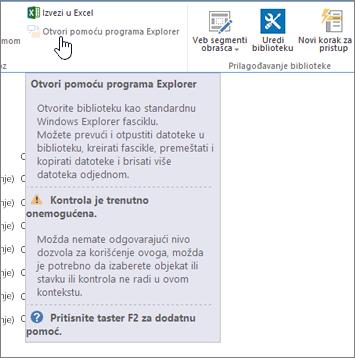 Otvaranje sa izabranom opcijom Explorer, ali nije omogućeno.