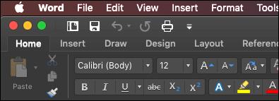 Traka programa Word za Mac u tamno režimu