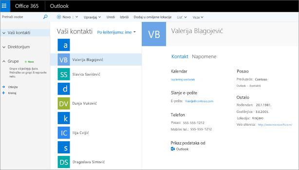 Kada uvezete kontakte, evo kako oni izgledaju u programu Outlook na vebu.