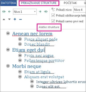 """Slika nekih alatki za strukturu na meniju """"Prikazivanje strukture"""" sa probnom strukturom teksta koji sadrži ispise """"lorem ipsum""""."""