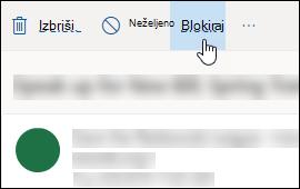 Outlook.com poruku blok opcija