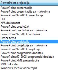Sačuvajte prezentaciju kao PowerPoint projekciju.