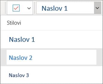 Lista naslova u aplikaciji OneNote za Windows 10