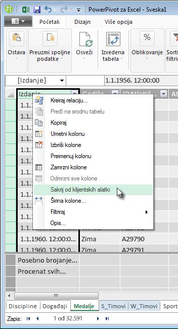 kliknite desnim tasterom miša da biste sakrili polja tabele od Excel klijentskih alatki