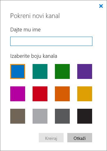 """Snimak ekrana okna """"Započni novi kanal""""."""