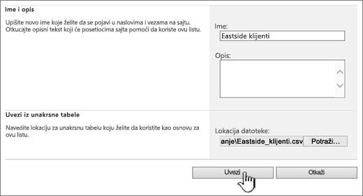 Kreiranje Uvezi unakrsnu tabelu dijalog sa uvoz istaknuta