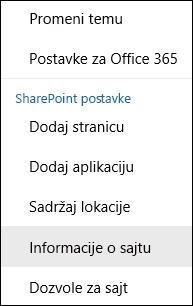 Snimak ekrana koji prikazuje opciju menija sa informacijama SharePoint sajta.