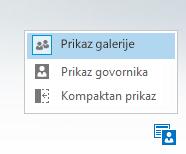 Snimak ekrana menija za promenu rasporeda sa tri opcije
