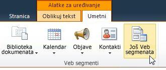 "Klik na dugme ""Još veb segmenata"""