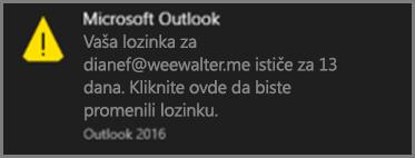 Slika obaveštenja koju korisnik vidi kad mu uskoro ističe lozinka.