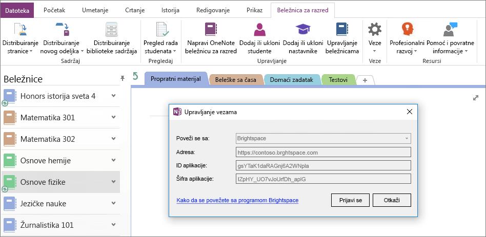 Snimak ekrana veze dijaloga programa OneNote Beležnica za razred programskog dodatka pomoću smernica grupe omogućena.