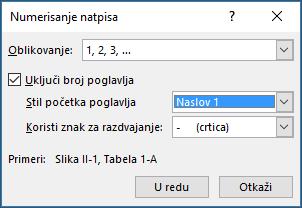 Koristite natpis numerisanje dijalog za dodavanje brojeva poglavlja natpisima.