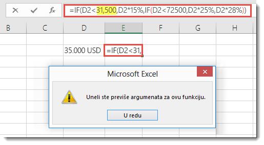Poruka programa Excel kada vrednosti dodate zarez