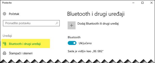 """Proverite da li je sa leve strane izabrana opcija """"Bluetooth i drugi uređaji"""""""