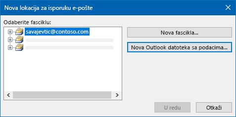 Dijalog lokacije za isporuku Outlook e-pošte