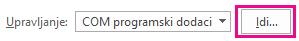 Kliknite na dugme idi da biste otvorili dijalog programski dodaci.