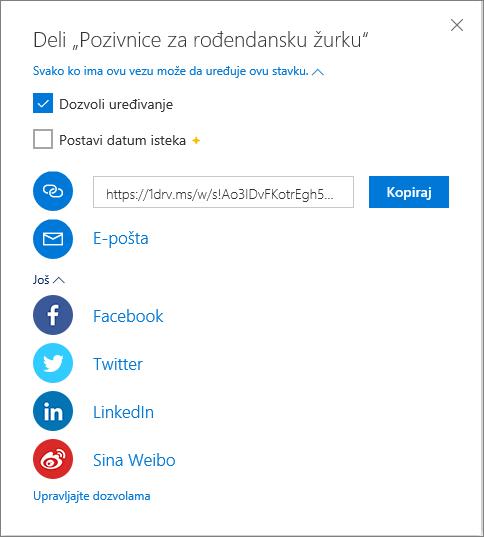 OneDrive – opcije za deljenje svih datoteka
