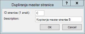 Snimak pokazuje dijalog dupliranje Master stranice.